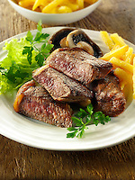 Sirloin steak, chips  & salad