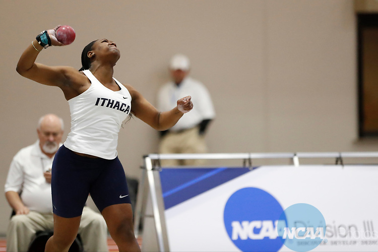 NAPERVILLE, IL - MARCH 11: Brandy Smith of Ithaca College competes in the shot put at the Division III Men's and Women's Indoor Track and Field Championship held at the Res/Rec Center on the North Central College campus on March 11, 2017 in Naperville, Illinois. (Photo by Steve Woltmann/NCAA Photos via Getty Images)