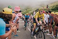Geraint Thomas (GBR/SKY) up the last climb of the 2018 Tour: the Col d'Aubisque (HC/1709m/16.6km@4.9%)<br /> <br /> Stage 19: Lourdes &gt; Laruns (200km)<br /> <br /> 105th Tour de France 2018<br /> &copy;kramon