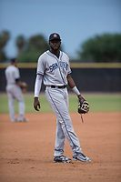 AZL Padres 1 third baseman Luis Guzman (7) during an Arizona League game against the AZL Padres 2 at Peoria Sports Complex on July 14, 2018 in Peoria, Arizona. The AZL Padres 1 defeated the AZL Padres 2 4-0. (Zachary Lucy/Four Seam Images)