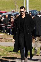 Marco Mengonio  partecipa ai funerali  di  Pino Daniele al santuario del divino amore di Roma