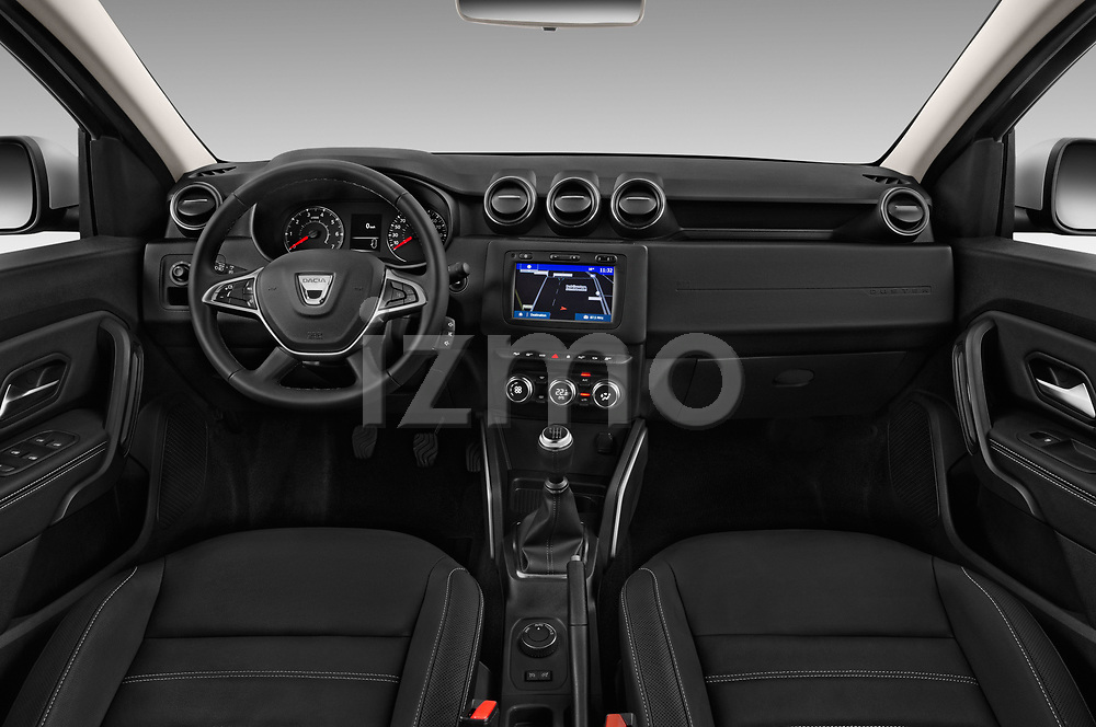 Stock photo of straight dashboard view of a 2018 Dacia Duster Duster 5 Door SUV