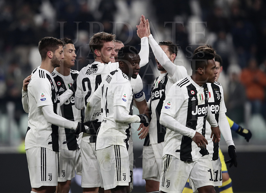 Calcio, Serie A: Juventus - Chievo Verona, Turin, Allianz Stadium, January 21, 2019.<br /> Juventus' Daniele Rugani (c) celebrates after scoring with his teammates during the Italian Serie A football match between Juventus and Chievo Verona at Torino's Allianz stadium, January 21, 2019.<br /> UPDATE IMAGES PRESS/Isabella Bonotto