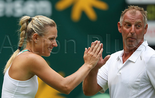 17th June 2017, Angelique Kerber of Germany with Thomas Muster of Austria during the Champions Trophy game of the Gerry Weber Open in Halle, Germany