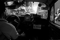 The interior of a VW bug taxi in Mexico City's historical center.  Mexico, 1995