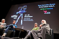 The Netherlands, Amsterdam, 20 November 2014. The 27th International Documentary Film Festival Amsterdam - IDFA 2014. QnA with filmmaker Phie Ambo after screening Good Things Await at Kleine Komedie. From left; director Phie Ambo, moderator Joris Lohman, Rita Stokholm, Niels Stockholm (both in the documentary). Photo: 31pictures.nl / (c) 2014, www.31pictures.nl