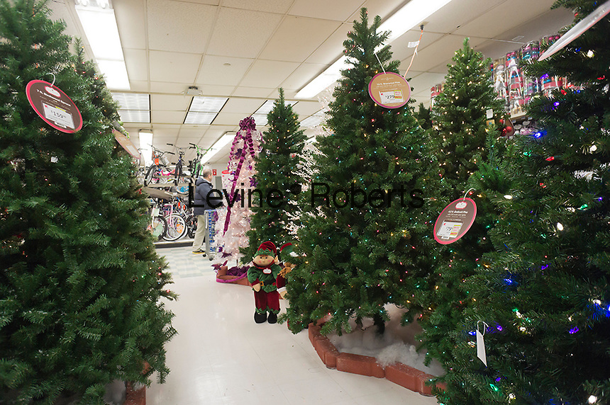 Seasonal Christmas display in a KMart store in New York on Monday, November 5, 2012. Because of Hurricane Sandy many retailers feel that they will not be able to get enough seasonal merchandise because of closed ports and a disruption in the supply chain.  (© Richard B. Levine)