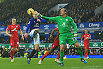 Steven Naismith of Everton and Leicester's Mark Schwarzer contest a high ball - Everton vs. Leicester City - Barclay's Premier League - Goodison Park - Liverpool - 22/02/2015 Pic Philip Oldham/Sportimage