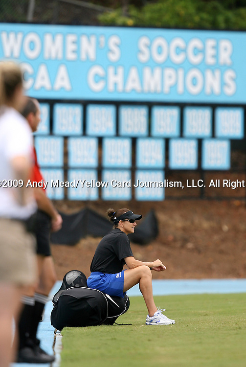 30 August 2009: Duke assistant coach Carla Overbeck. The Duke University Blue Devils lost 3-2 to the University of Central Florida Knights at Fetzer Field in Chapel Hill, North Carolina in an NCAA Division I Women's college soccer game.