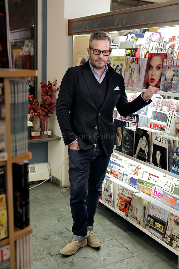 Tyler Brule, editor-in-chief of Monocle magazine, poses for a portrait at McNally Jackson Books in SoHo. ..Danny Ghitis for The New York Times