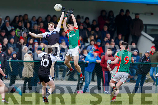 PS IS Kenmare Griffin Lynch Wharton out jumps Lorcan Finn Michelstown CBS during  the Munster Colleges B final in Ballyvourney on Saturday