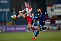 30th November 2019; Dens Park, Dundee, Scotland; Scottish Championship Football, Dundee Football Club versus Queen of the South; Dan Pybus of Queen of the South takes the ball away from Kane Hemmings of Dundee  - Editorial Use