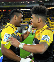 Julian and Ardie Savea celebrate after the final whistle during the Super Rugby semifinal match between the Hurricanes and Chiefs at Westpac Stadium, Wellington, New Zealand on Saturday, 30 July 2016. Photo: Dave Lintott / lintottphoto.co.nz