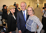 Malcolm Turnbull, (C) Australia's incoming prime minister, with Foreign Minister Julie Bishop (L) and Lucy Turnbull (R) after he won the party leadership ballot in Canberra, Australia, on Monday, Sept. 14, 2015. Photographer: Mark Graham/Bloomberg *** Local Caption *** Malcolm Turnbull