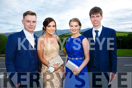 Enjoying the Killarney secondary schools Debs at Ballyroe Heights Hotel on Monday were Allan Lynch, Melissa Ferris, Grainne Dineen, Dara Lyon