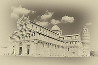 An aged view of Piazza del Duomo, Pisa