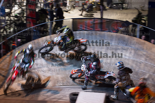Indoor Super Moto-Cross race in Budapest, Hungary on February 4, 2012. ATTILA VOLGYI