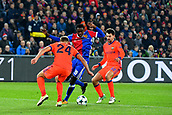 31st October 2017, St Jakob-Park, Basel, Switzerland; UEFA Champions League, FC Basel versus CSKA Moscow; Vasiliy Berezutskiy and Georgi Schennikov of CSKA Moscow challenge Dimitri Oberlin of FC Basel for the ball