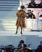 "Entertainer Aretha Franklin performs at the concert at the Lincoln Memorial that was part of the ""American Reunion"" celebration leading up to the swearing-in ceremony for Bill Clinton as the 42nd President of the United States in Washington, DC on January 17, 1993.<br /> Credit: Howard L. Sachs / CNP"