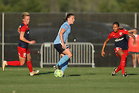Piscataway, NJ - Saturday July 23, 2016: Joanna Lohman, Estelle Johnson, Catherine Zimmerman during a regular season National Women's Soccer League (NWSL) match between Sky Blue FC and the Washington Spirit at Yurcak Field.