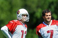 Jul 31, 2009; Flagstaff, AZ, USA; Arizona Cardinals quarterbacks Matt Leinart (7) and Kurt Warner (13) during training camp on the campus of Northern Arizona University. Mandatory Credit: Mark J. Rebilas-