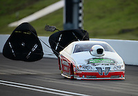 Jun. 15, 2012; Bristol, TN, USA: NHRA pro stock driver Mike Edwards during qualifying for the Thunder Valley Nationals at Bristol Dragway. Mandatory Credit: Mark J. Rebilas-