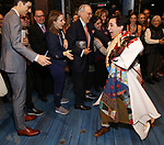 Jess LeProtto with Justin Peck, Jessie Mueller, Roy Furman and Lindsay Mendez during the Actors' Equity Broadway Opening Night Gypsy Robe Ceremony honoring Jess LeProtto for 'Carousel' at the Imperial Theatre on April 12, 2018 in New York City.