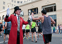 The Hollywood Greeter welcomes L.A. Marathon runners.
