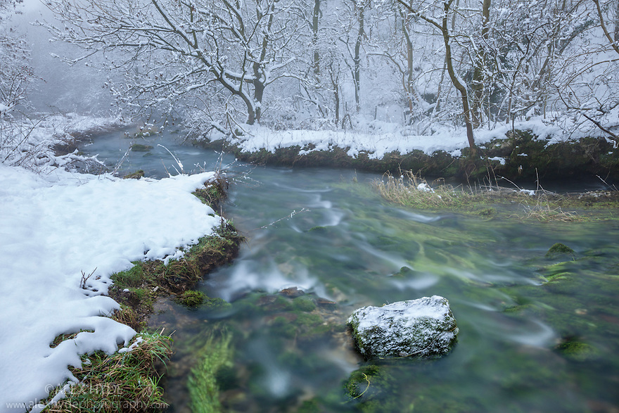 The River Lathkill, Lathkill Dale NNR, an SSSI site, Peak District National Park, UK. January. Sequence 2 of 2