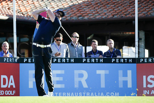 25.02.2016. Perth, Australia. ISPS HANDA Perth International Golf. Adam Bland (AUS) hits his first shot for the tournament on tee 1 day 1.