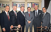 In this file photo dated November 30, 1988, the Speaker of the United States House of Representatives Jim Wright (Democrat of Texas) meets the Democratic Leadership Council in Washington, D.C.  From left to right: Secretary of the Democratic Conference Senator David Pryor (Democrat of Arkansas), U.S. Senate Majority Whip Alan Cranston (Democrat of California), Speaker Wright, in-coming U.S. Senate Majority Leader George Mitchell (Democrat of Maine), in-coming U.S. House Majority Leader Tom Foley (Democrat of Washington), and in-coming U.S. House Majority Whip Tony Coehlo (Democrat of California).  Wright passed away at age 92 on May 6, 2015.<br /> Credit: Ron Sachs / CNP