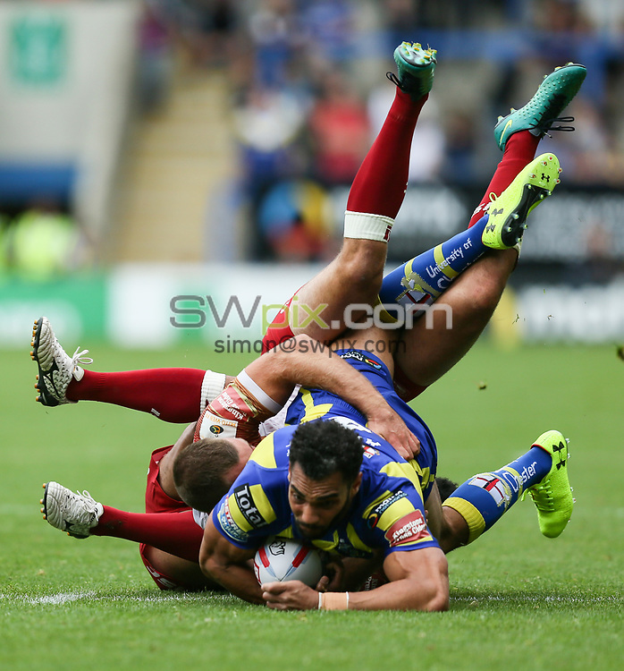 Picture by Allan McKenzie/SWpix.com - 24/06/2017 - Rugby League - Betfred Super League - Warrington Wolves v Catalan Dragons - Halliwell Jones Stadium, Warrington, England - Ryan Atkins of Warrington Wolves'  is tackled by Jodie Broughton of Catalan Dragons and Iain Thornley