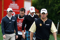 Lee Westwood (ENH leading the way for Rory McIlroy (NIR) and Jamie Donaldson (WAL) as they walk off the 2nd tee during the final day of the Omega European Masters, Crans-Sur-Sierre, Crans Montana, Switzerland.4/9/11.Picture: Golffile/Fran Caffrey..