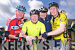 Pictured at the Kerry Emergency Services charity cycle with started at the Killarney Fire Station on Saturday were Patsy Lynch, Tim O'Leary, Sean McGillicuddy and Pierce Heaslip.........................