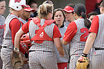 MADISON, WI - APRIL 15: Head coach Chandelle Schulte of the Wisconsin Badgers talks to her team against the Purdue Boilermakers at the Goodman Diamond softball field on April 15, 2007 in Madison, Wisconsin. (Photo by David Stluka)