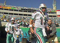 Dan Marino enters the field during the final game of the legendary quarterback's career,  a 62 to 7 Playoff loss by his Miami Dolphins tot he Jacksonville Jaguars in Alltell Stadium, Jacksonville, FL, January 15, 2000. (Photo by Brian Cleary/www.bcpix.com)