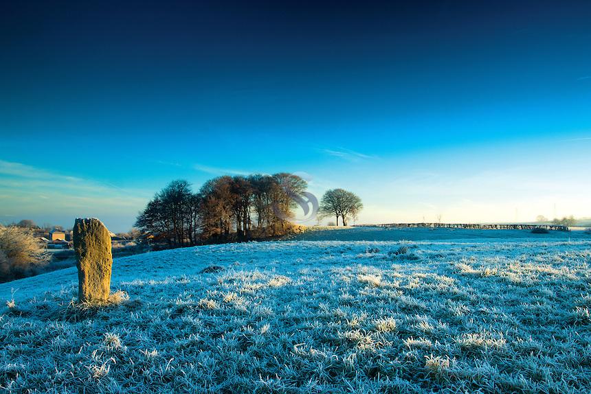 The Neilston Stone at dawn, Neilston, East Renfrewshire