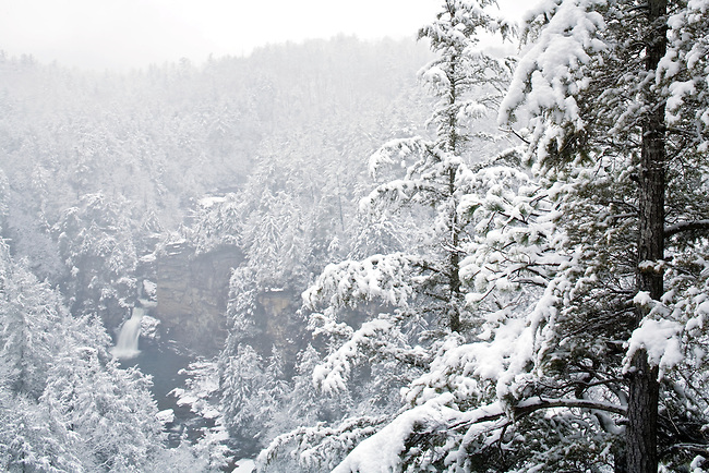 Linville Falls with fresh snow, Blue Ridge Parkway, North Carolina