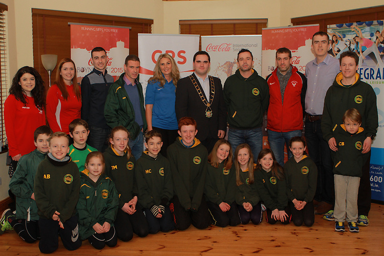 Shane Leavy, Coca Cola, Liam Cooney of Boyne AC, Lorraine Balfe, Integral, Mayor Kevin Callan, Gary Kelly, Aonghus O'Connor, Chair of Drogheda and District AC, Declan Monaghan, Boyne 10km Committee Member with members of Boyne AC and Drogheda and District Ac at the Launch of the Boyne 10km in the Gary Kelly Centre.
