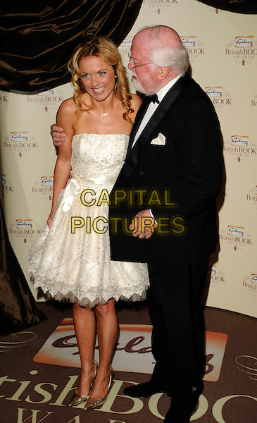 GERI HALLIWELL  & RICHARD ATTENBOROUGH.Attending the Galaxy British Book Awards held at the Grosvenor Hotel, Park Lane, London, England,.April 9th 2008..full length white strapless prom dress silver shoes black suit arm around shoulder .CAP/CAN.©Can Nguyen/Capital Pictures