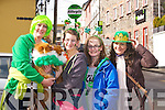 PARADE: Having a great day on St Patricks Day in Killorglin as the Killorglin Patricks Day parade approach, Lisa,Caoimhe and Chloe Corkery and Breeda Kissane, and their two pups Bingo and Lily.