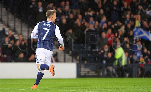 29.03.2016. Hampden Park, Glasgow, Scotland. International Football Friendly Scotland versus Denmark.  Matt Ritchie wheels away to celebrate the opening goal for Scotland