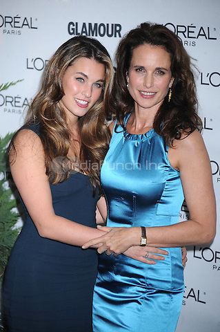 Andie MacDowell and Rainey Qualley at Glamour Magazine's 2009 Women of The Year Honors at Carnegie Hall  in New York City. November 9, 2009. Credit: Dennis Van Tine/MediaPunch