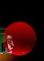 Berlin, der ehemalige Aussenminister Joschka Fischer am Donnerstag (27.02.2014) bei einer Diskussion zu Syrien nach Genf II. Foto: Steffi Loos/CommonLens