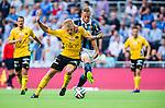 Stockholm 2014-07-07 Fotboll Allsvenskan Djurg&aring;rdens IF - IF Elfsborg :  <br /> Elfsborgs Per Frick i kamp om bollen med Djurg&aring;rdens Alexander Faltsetas <br /> (Foto: Kenta J&ouml;nsson) Nyckelord:  Djurg&aring;rden DIF Tele2 Arena Elfsborg IFE