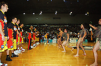 Maori performers confront the Pistons before the match during game two of the NBL Final basketball match between the Wellington Saints and Waikato Pistons at TSB Bank Arena, Wellington, New Zealand on Friday 20 June 2008. Photo: Dave Lintott / lintottphoto.co.nz