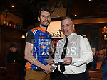 Superintendent Andrew Watters Chairperson of Drogheda Wheelers presents Austin Dennis of McNally Cycling Club Swords with the prize for best in A4 at the Peter Bidwell Memorial cycle at The Thatch Drogheda. Photo:Colin Bell/pressphotos.ie