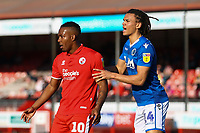 Dominic Poleon of Crawley Town and Miles Welch-Hayes of Macclesfield Town during Crawley Town vs Macclesfield Town, Sky Bet EFL League 2 Football at Broadfield Stadium on 23rd February 2019
