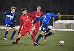 2018-03-03 / Voetbal / Seizoen 2017-2018 / FC Turnhout - Vosselaar / Nick Kuijlaars (l. Vosselaar) met Kevin Eyeson<br /> <br /> ,Foto: Mpics.be