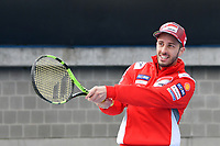 October 24, 2018: MotoGP rider Andrea Dovizioso plays tennis with Jack Miller at Melbourne Park before the 2018 MotoGP of Australia to be held at Phillip Island Grand Prix Circuit, Victoria, Australia. Photo Sydney Low